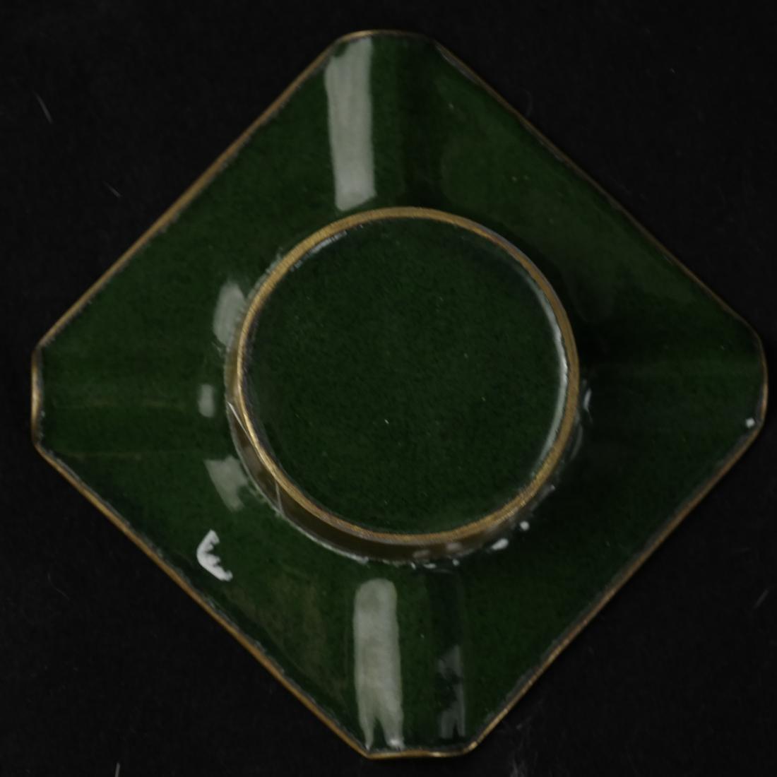 Japanese Cloisonne Ashtray and Enameled Vase on Silver - 7