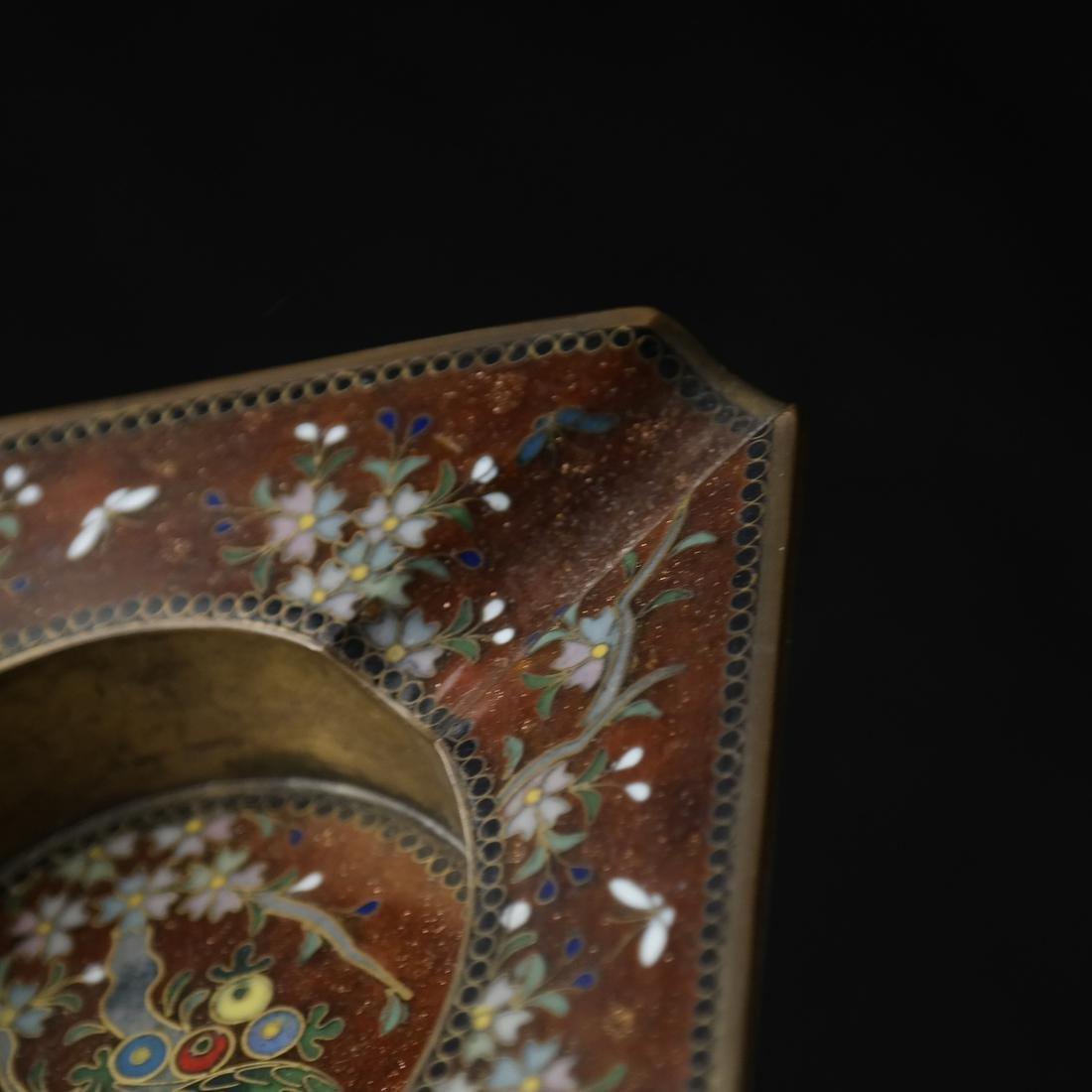 Japanese Cloisonne Ashtray and Enameled Vase on Silver - 8