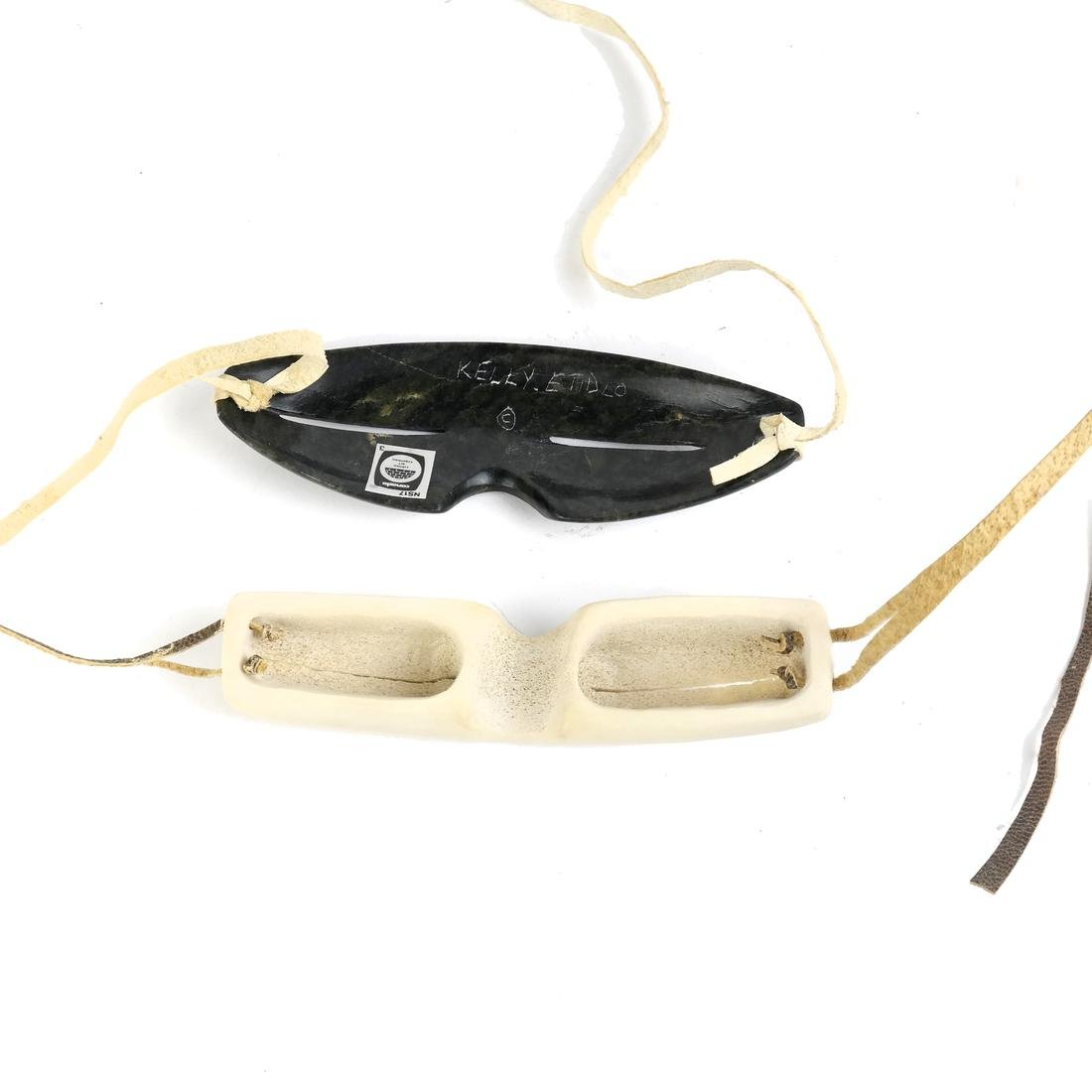Two Pairs of Carved Inuit Sunglasses - 2