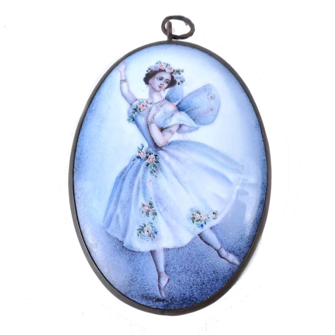 Continental Enameled Ballerina Plaque