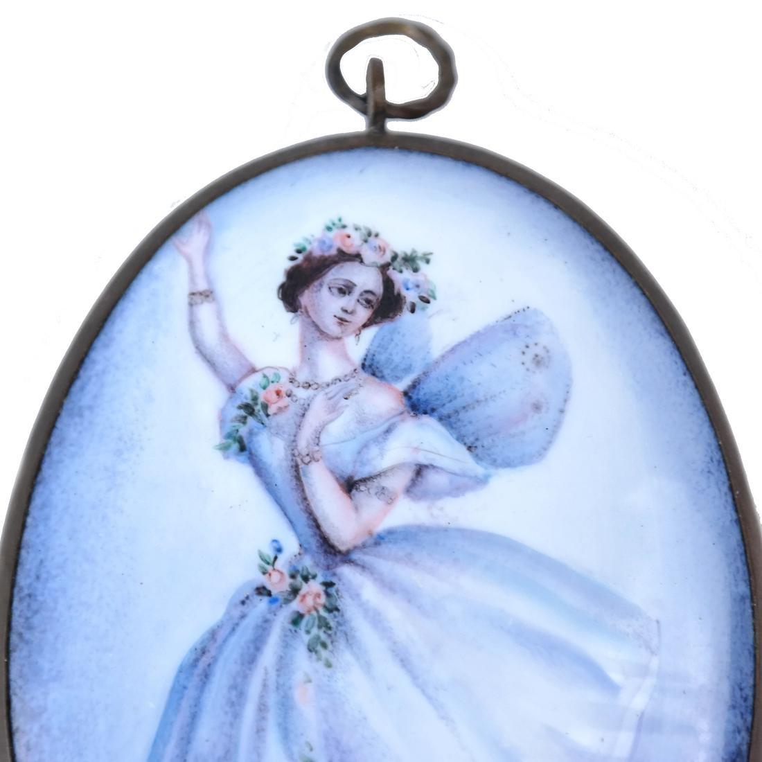 Continental Enameled Ballerina Plaque - 4