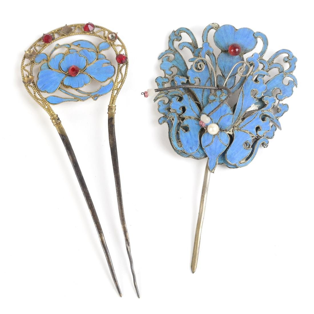 Two Chinese Kingfisher Hairpins