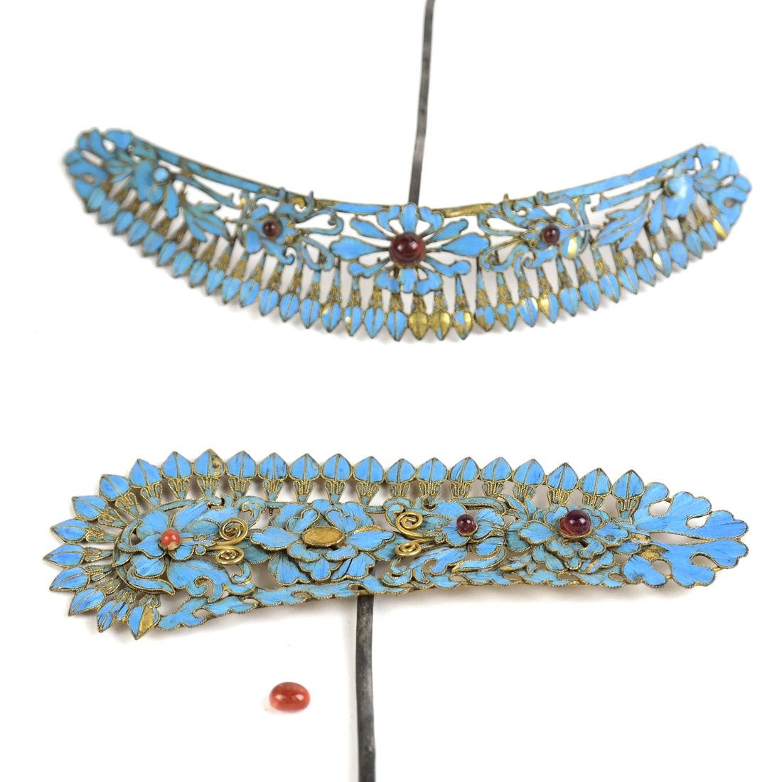 Two Chinese Kingfisher Hairpin - 2