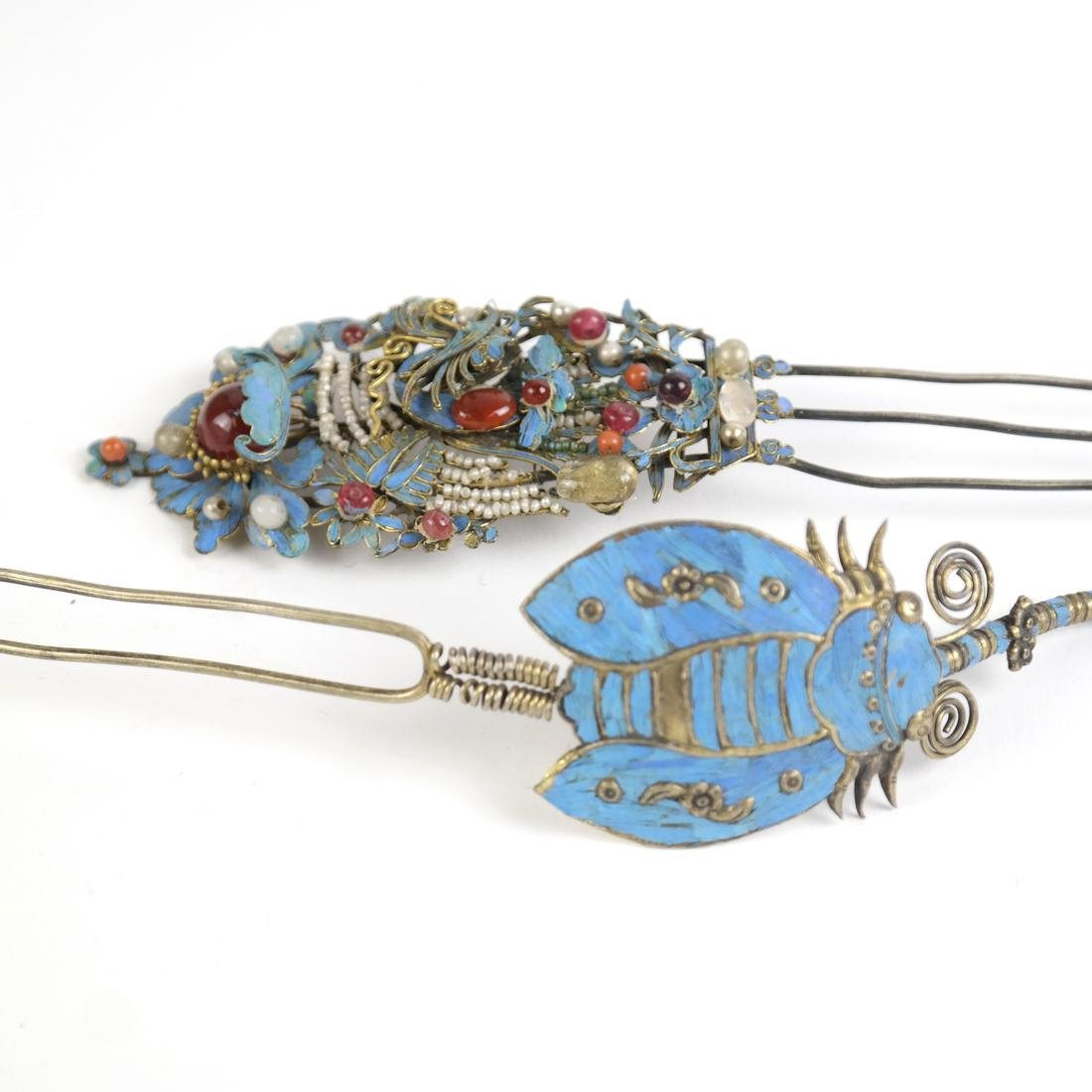 Two Chinese Kingfisher Hairpins - 2