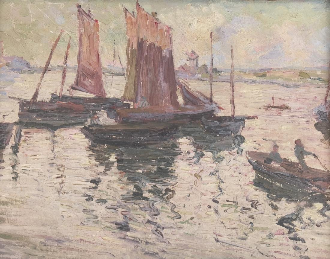 Boats at Dock, Oil on Board - 2