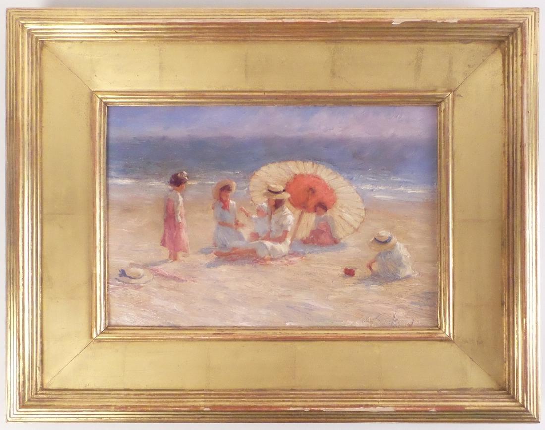 Brian Becken, Beach Scene - Oil on Board