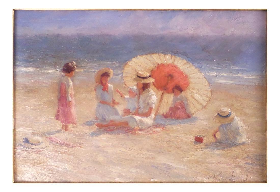 Brian Becken, Beach Scene - Oil on Board - 2