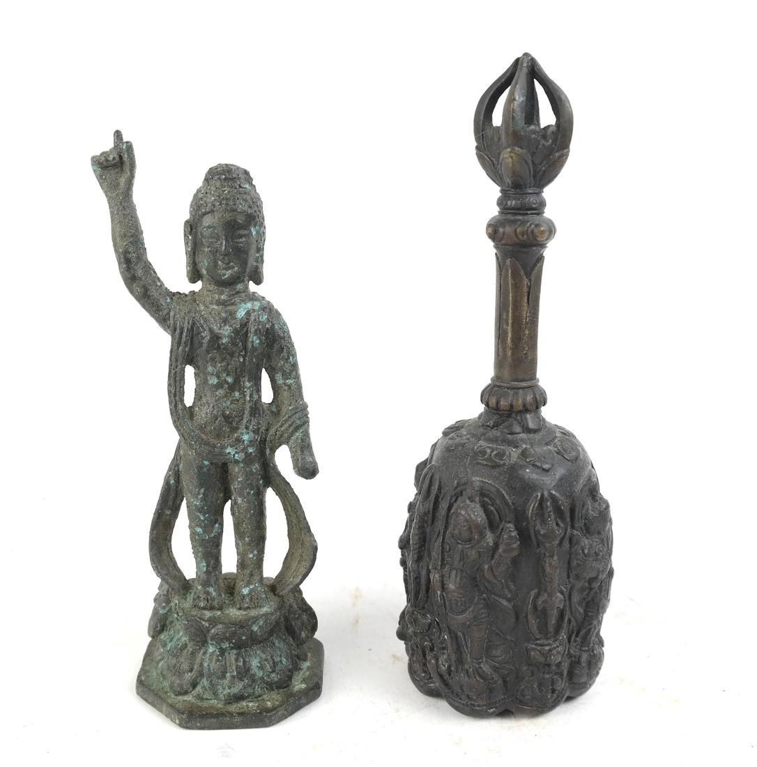 Two Chinese and Korean Bronze Sculptures