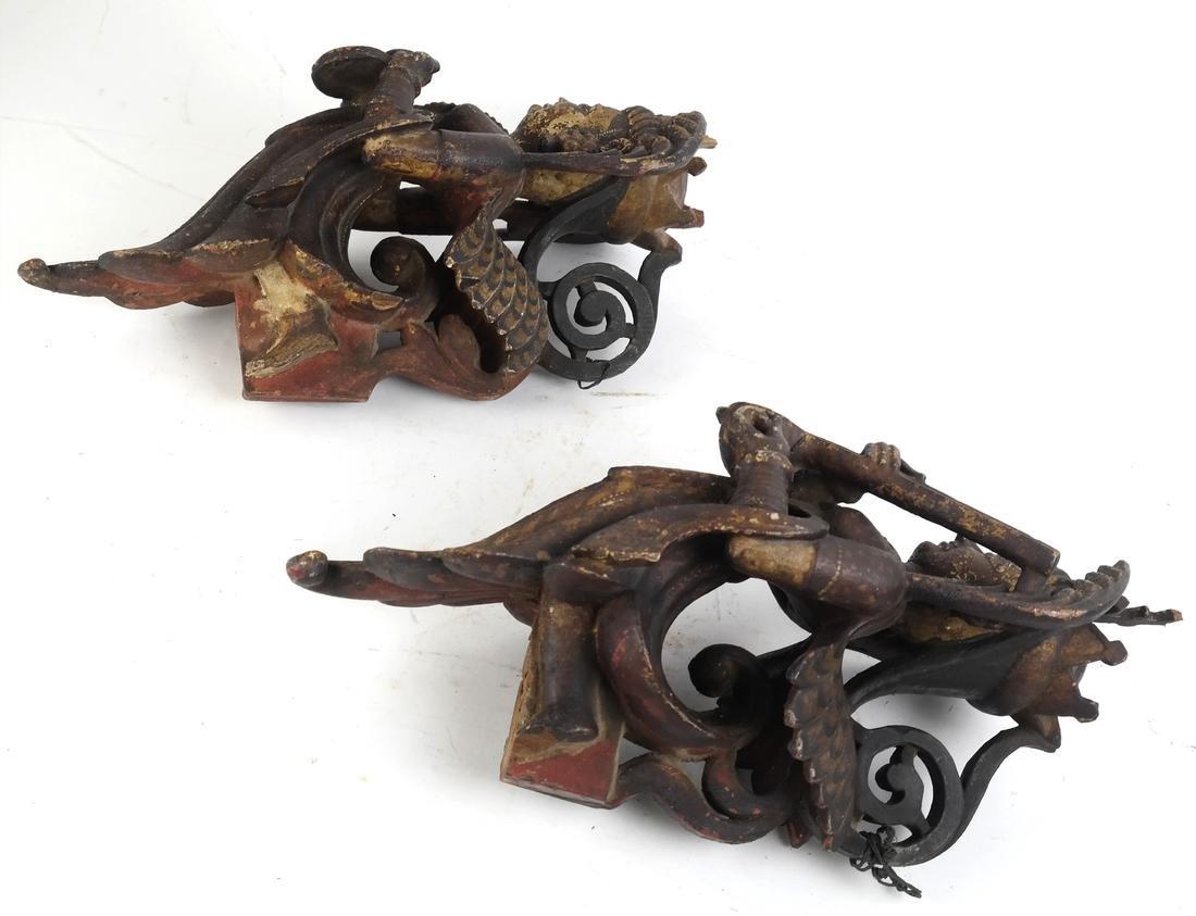 Pair of Tibetan Wood Applique - 2