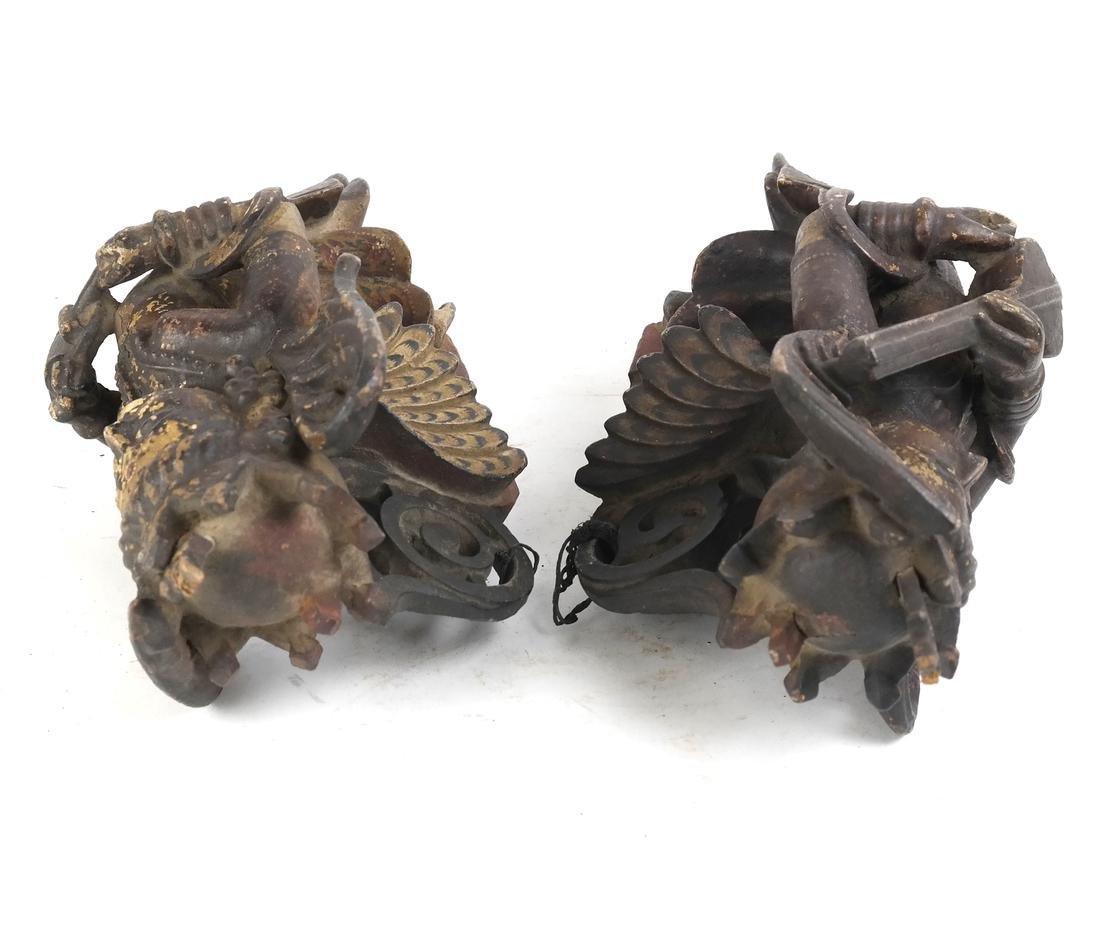 Pair of Tibetan Wood Applique - 3