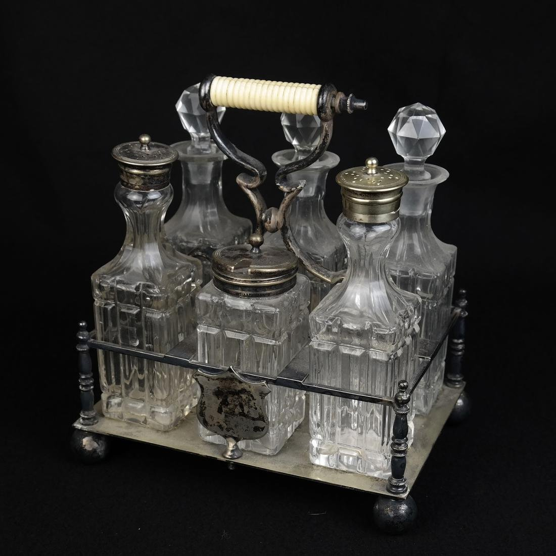 Silver plated and Glass Cruet Set