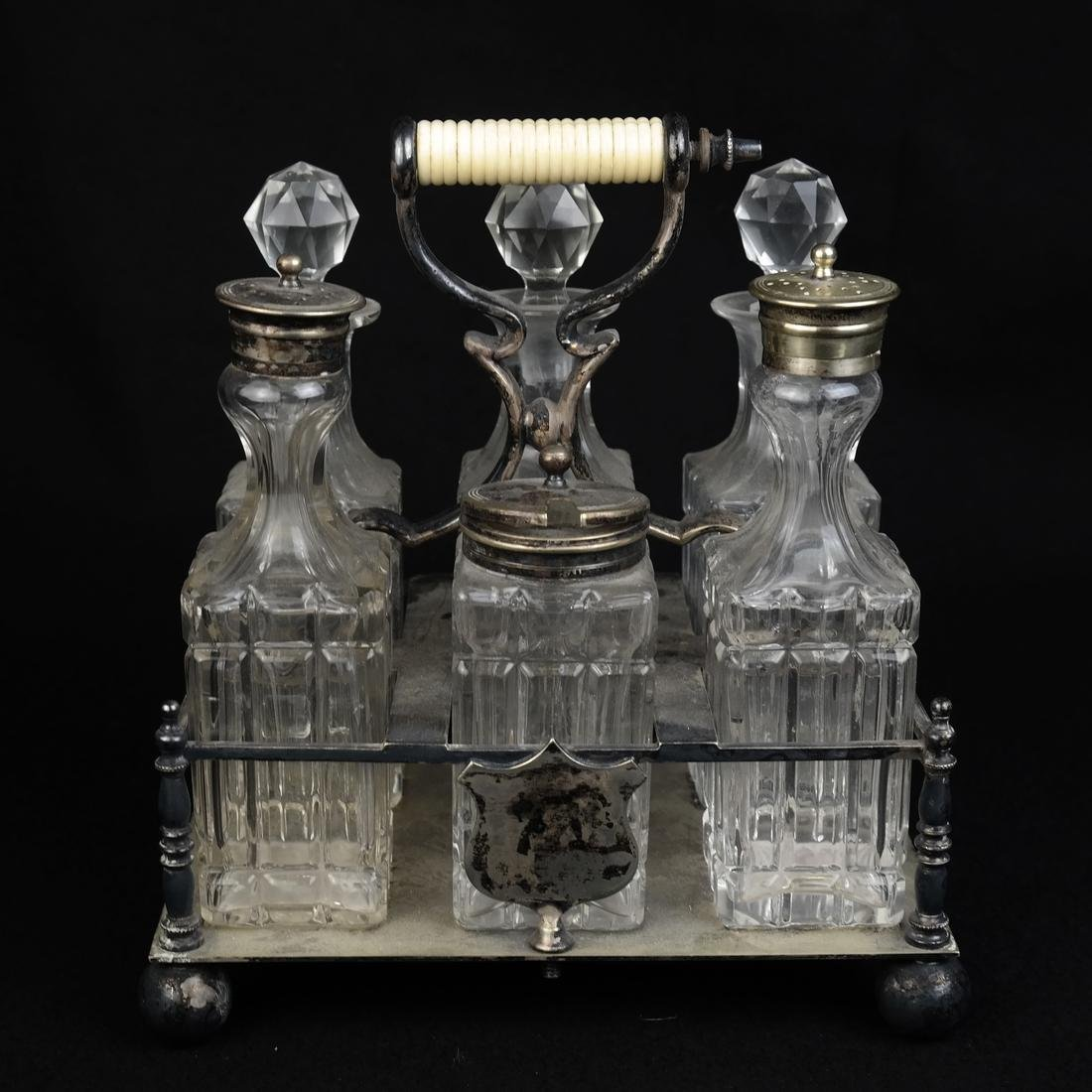 Silver plated and Glass Cruet Set - 2