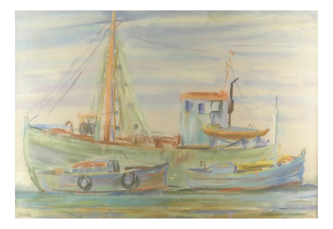 Pierre Jerome, Two Ships, Pastel