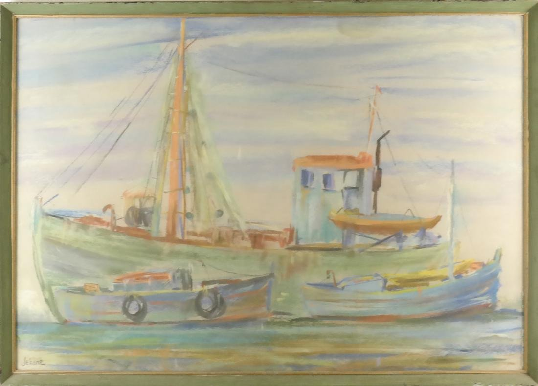 Pierre Jerome, Two Ships, Pastel - 2