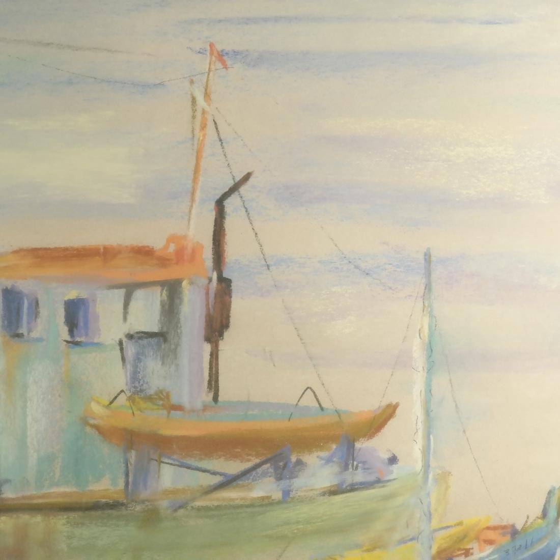 Pierre Jerome, Two Ships, Pastel - 5