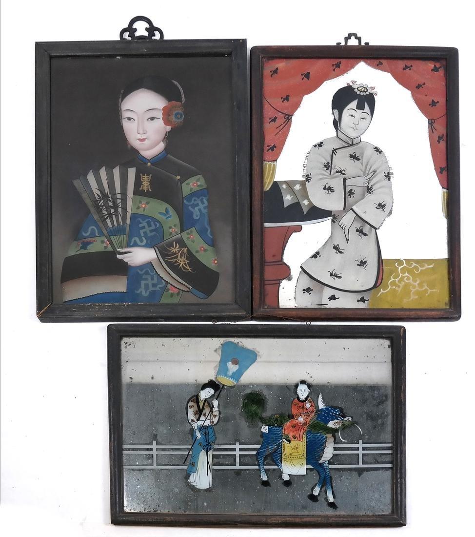 Three Chinese Reverse Glass Paintings