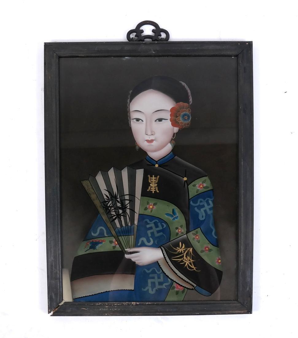 Three Chinese Reverse Glass Paintings - 4