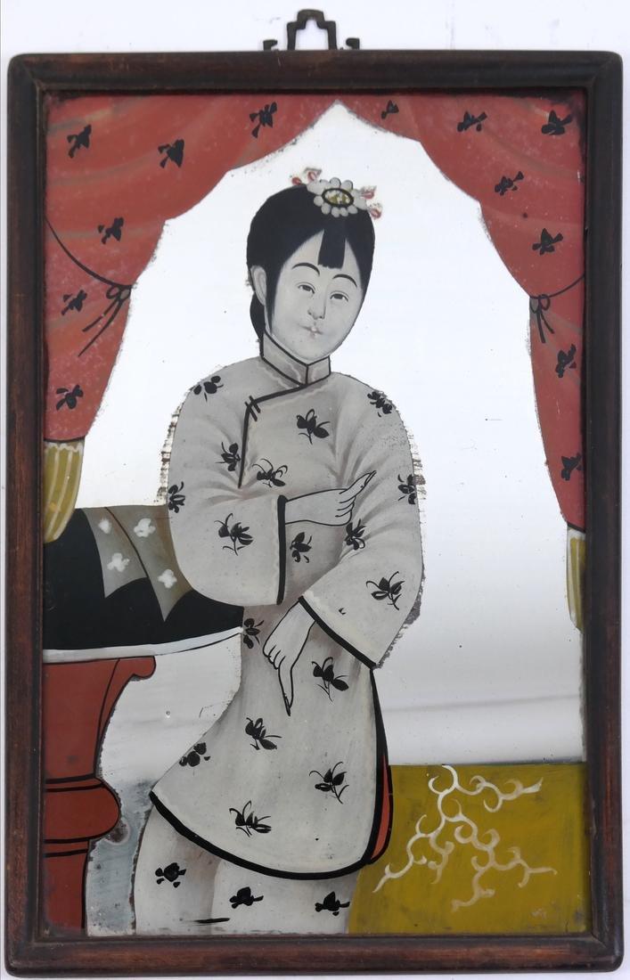 Three Chinese Reverse Glass Paintings - 6