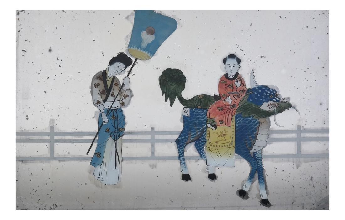 Three Chinese Reverse Glass Paintings - 9
