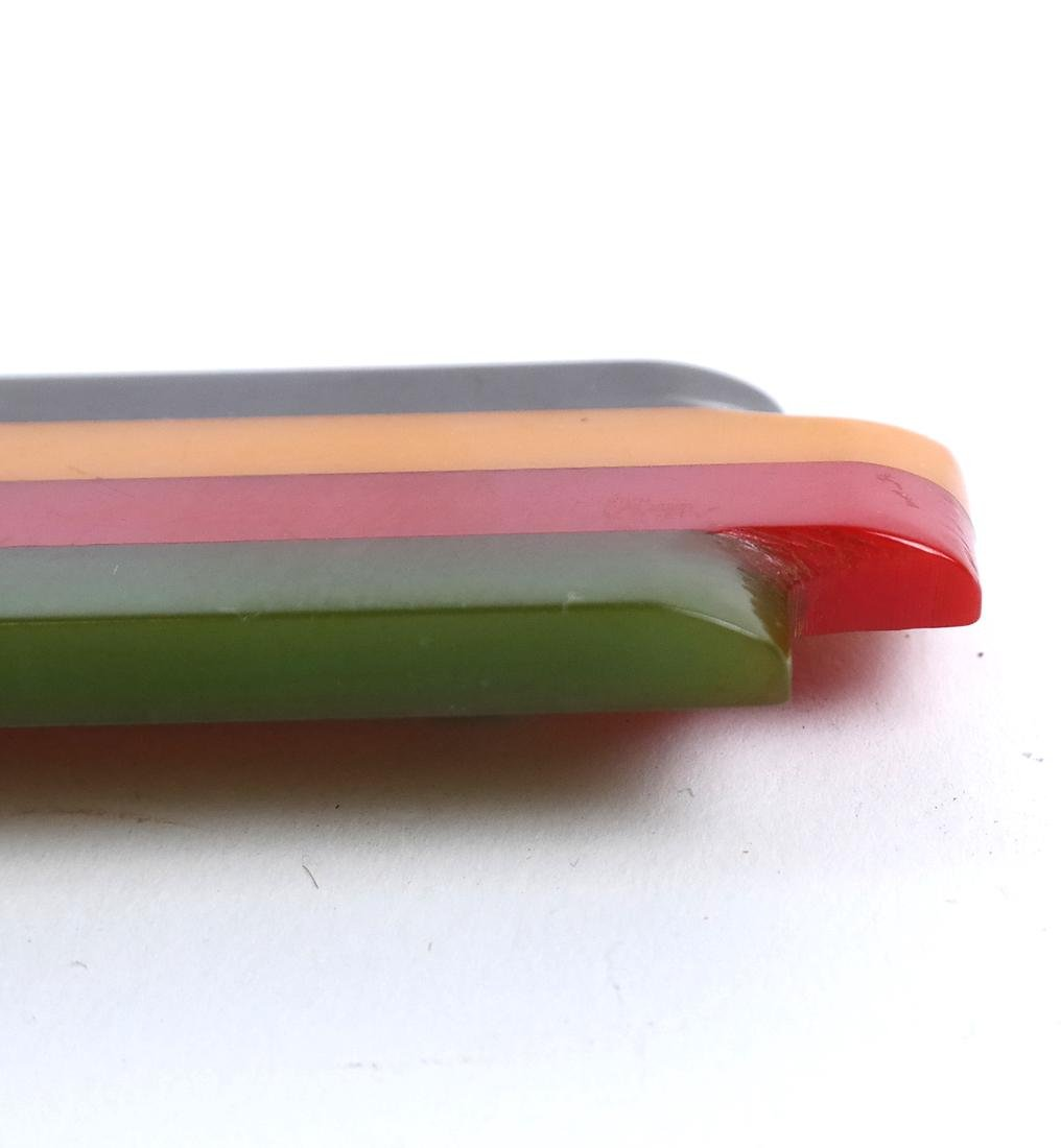 Bakelite 4-Color Rectangular Brooch - 4