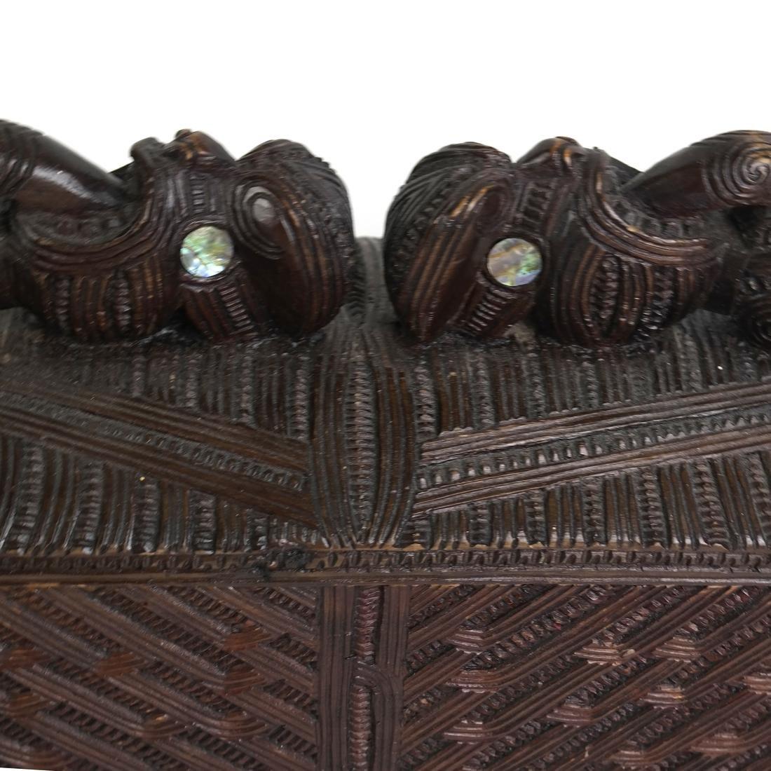 Maori Carved Hardwood Box - 4
