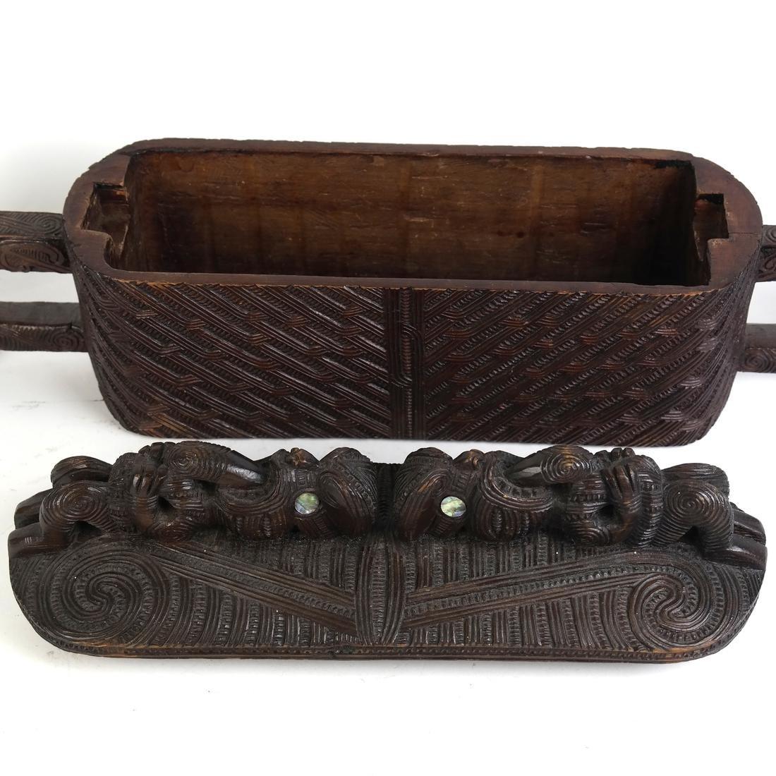 Maori Carved Hardwood Box - 5