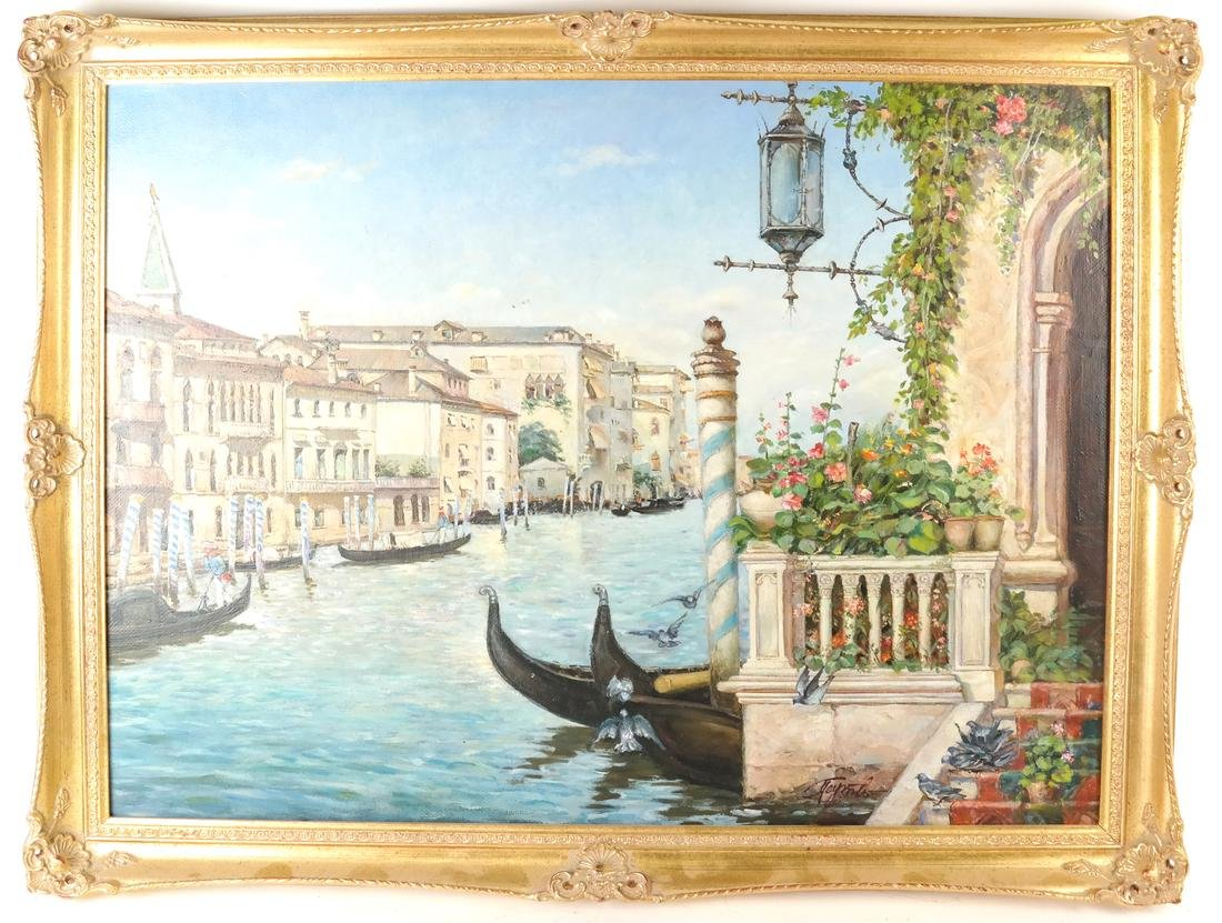 Venetian Painting, Canal Scene - 2