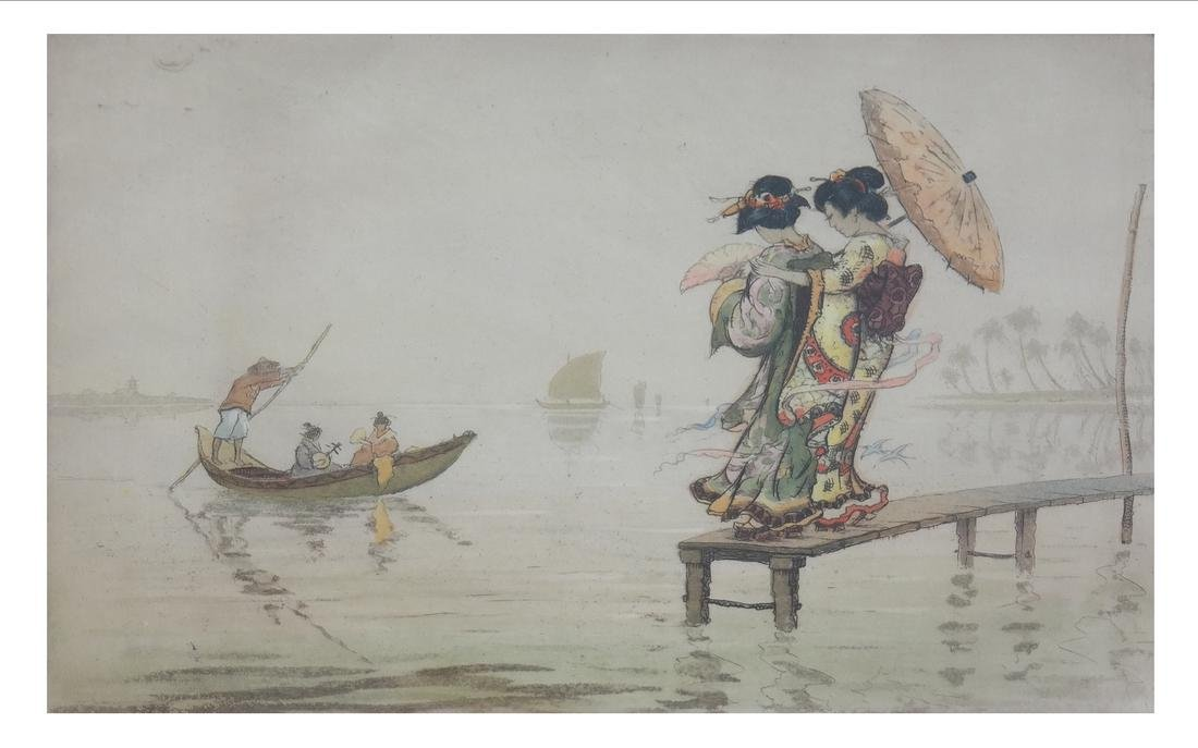 Robert Herdman Smith The Ferry: Color Etching