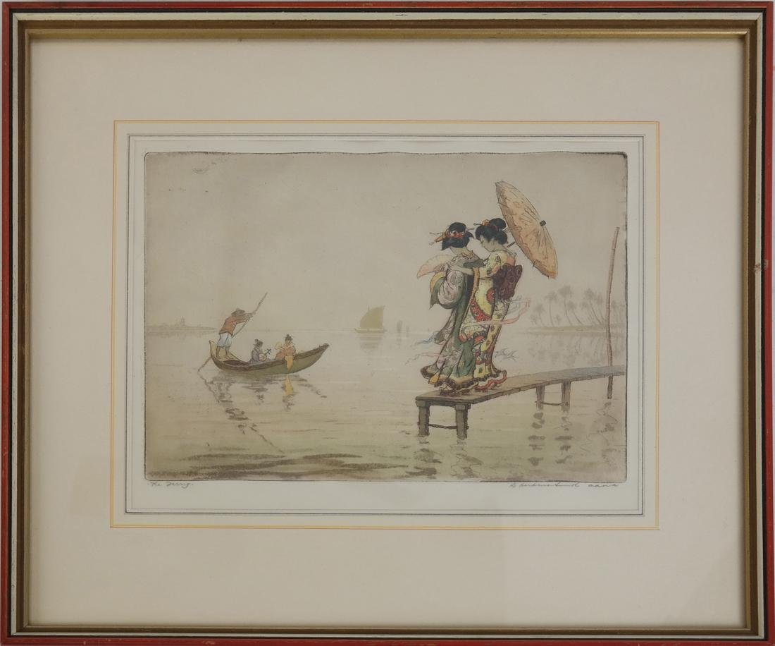 Robert Herdman Smith The Ferry: Color Etching - 2