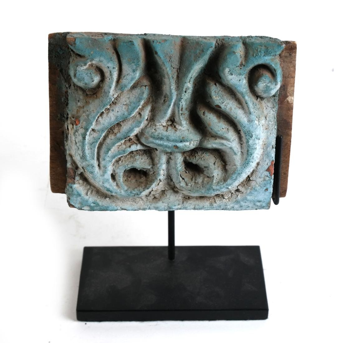Early Polychrome Carved Tile