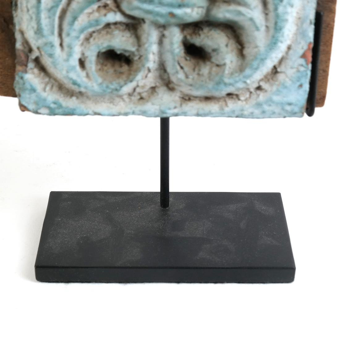 Early Polychrome Carved Tile - 5