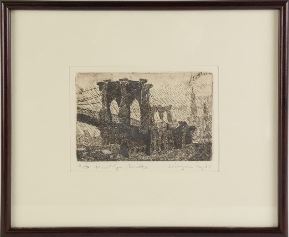 Etching, Manhattan Bridge - 2