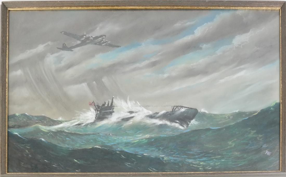 Gouache, Japanese Submarine - 2