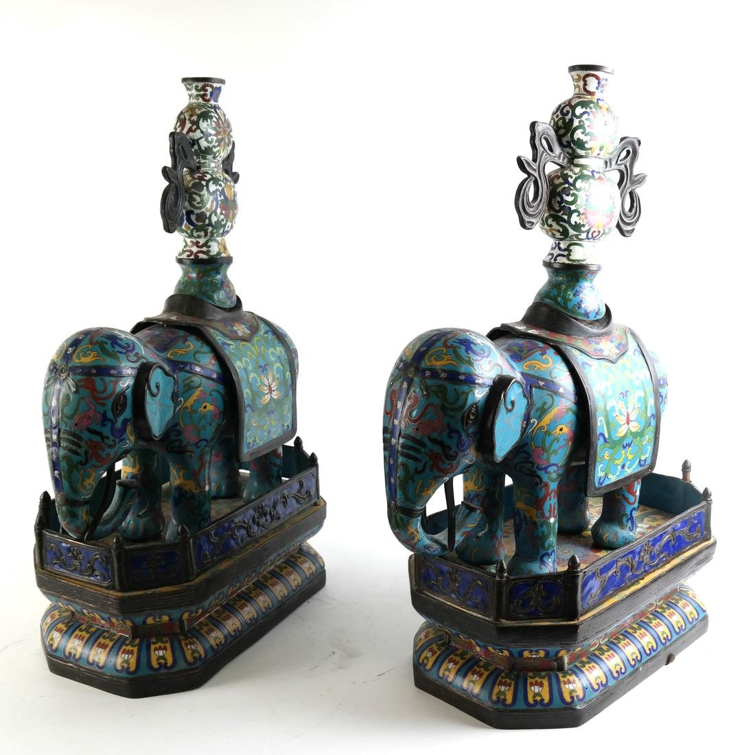 Pr Chinese Cloisonne Elephants with Vase - 2