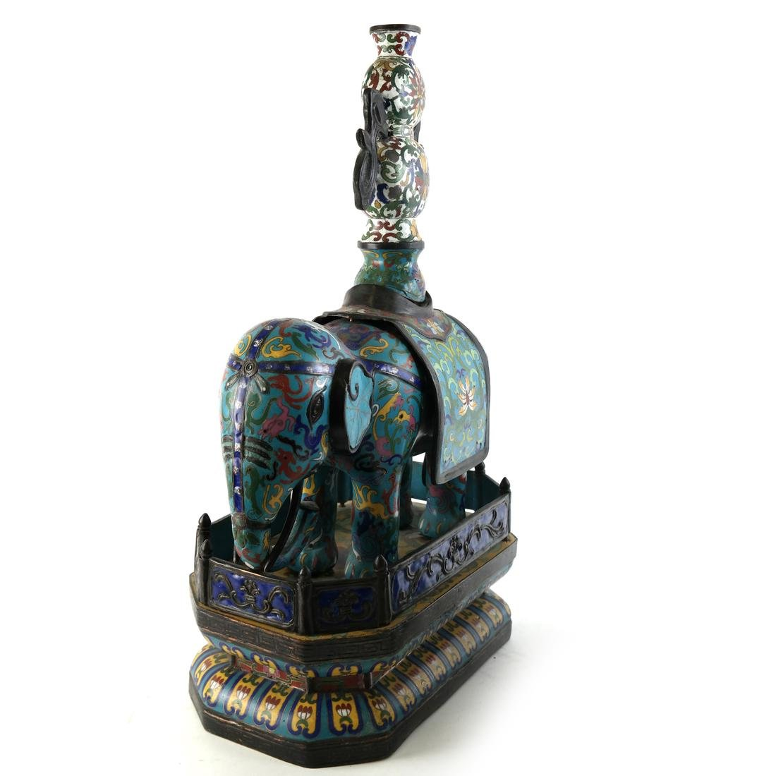 Pr Chinese Cloisonne Elephants with Vase - 3