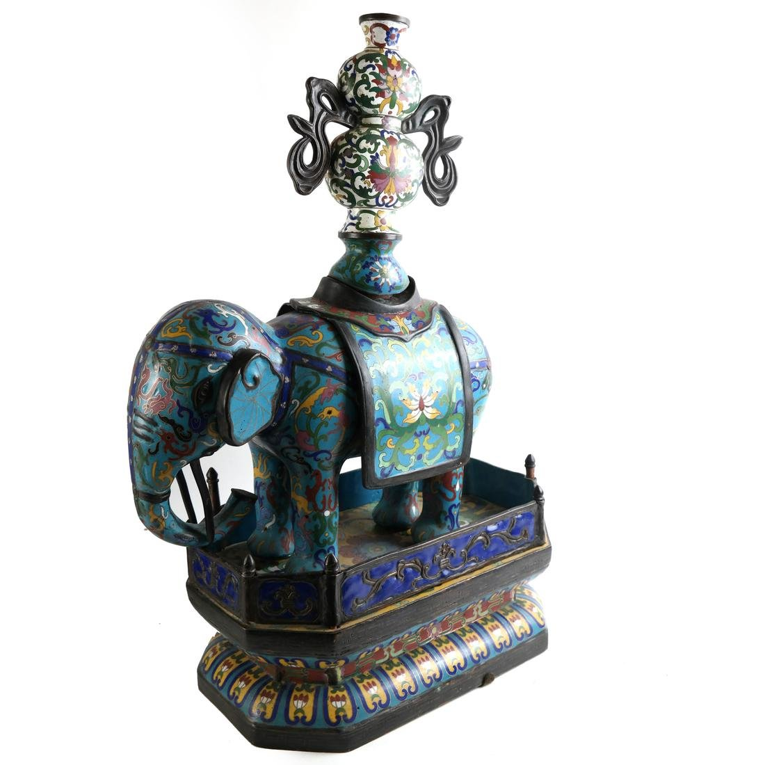 Pr Chinese Cloisonne Elephants with Vase - 4