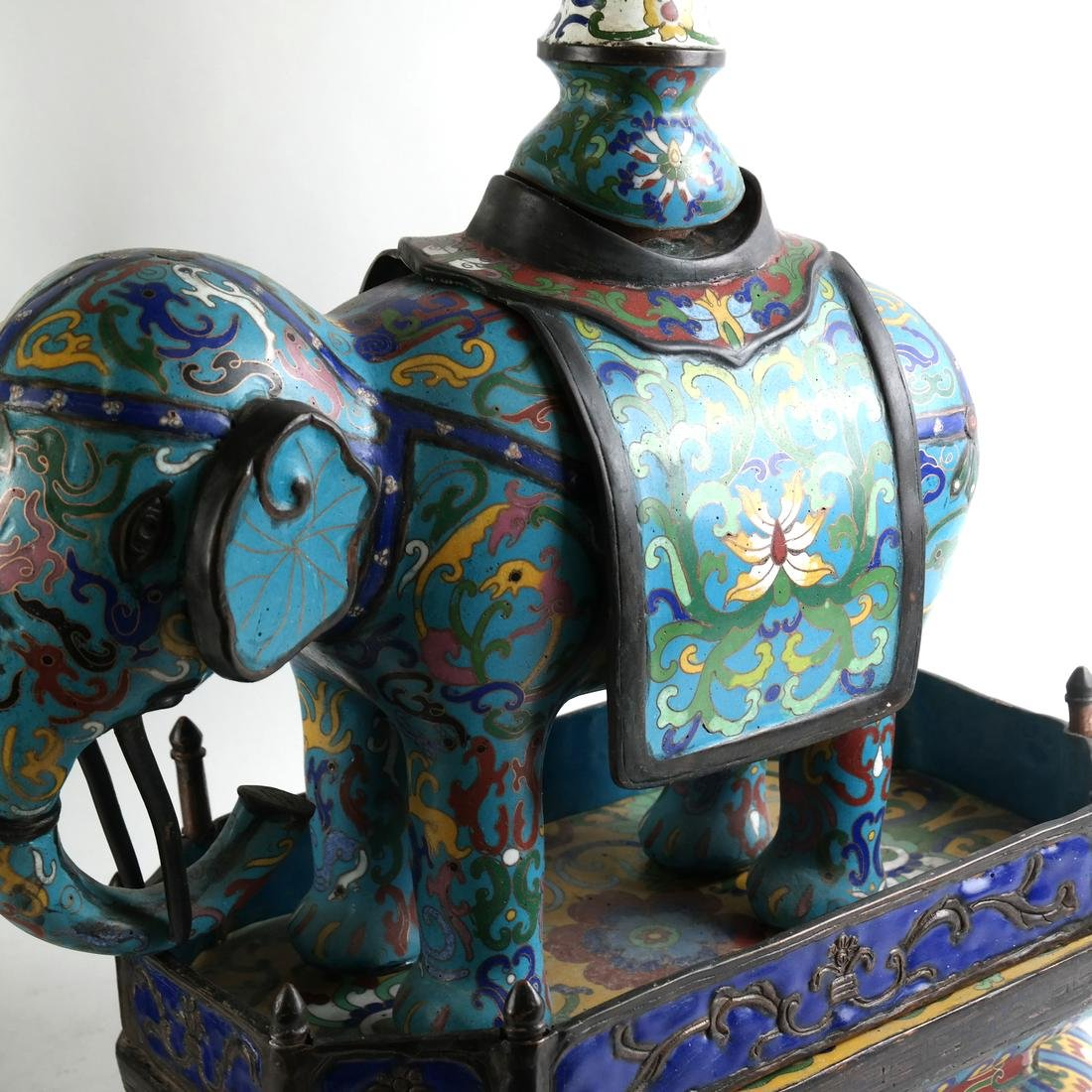 Pr Chinese Cloisonne Elephants with Vase - 5