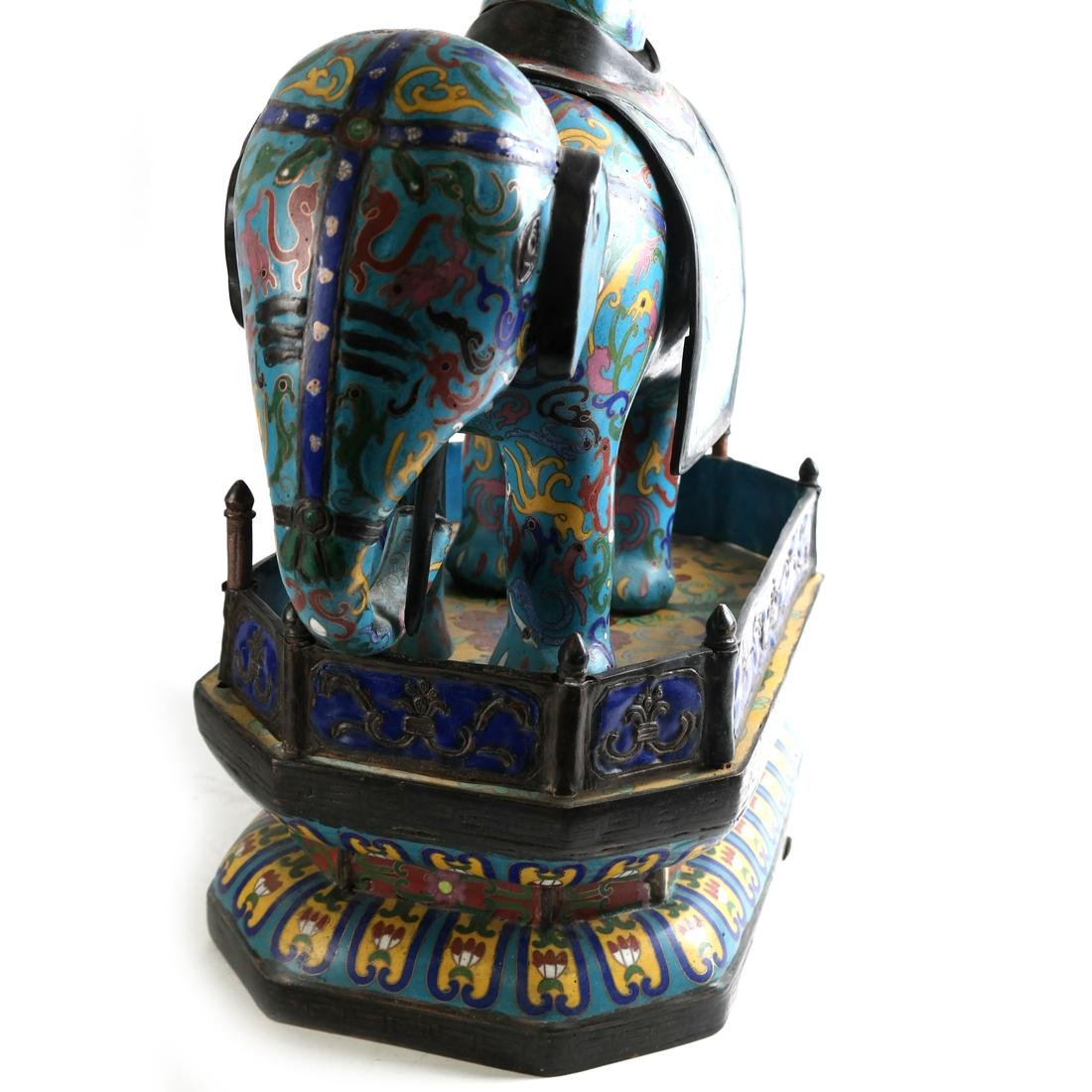Pr Chinese Cloisonne Elephants with Vase - 7
