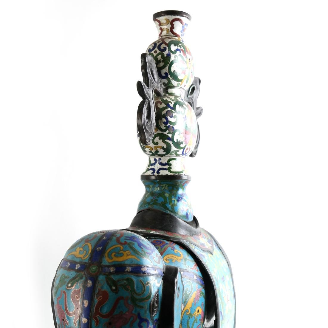 Pr Chinese Cloisonne Elephants with Vase - 8