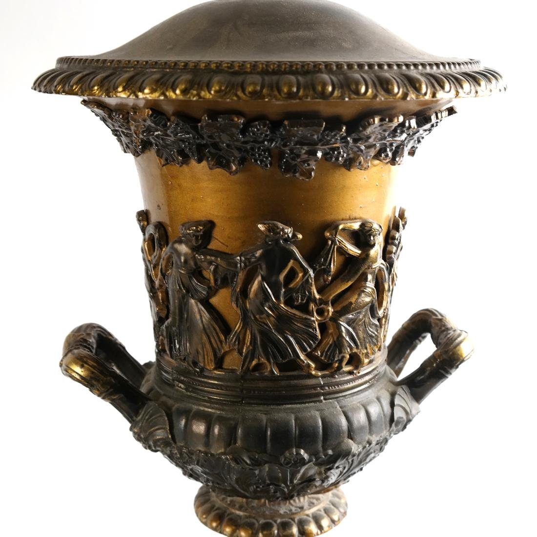 Pair of Gilt Metal Covered Urns - 10
