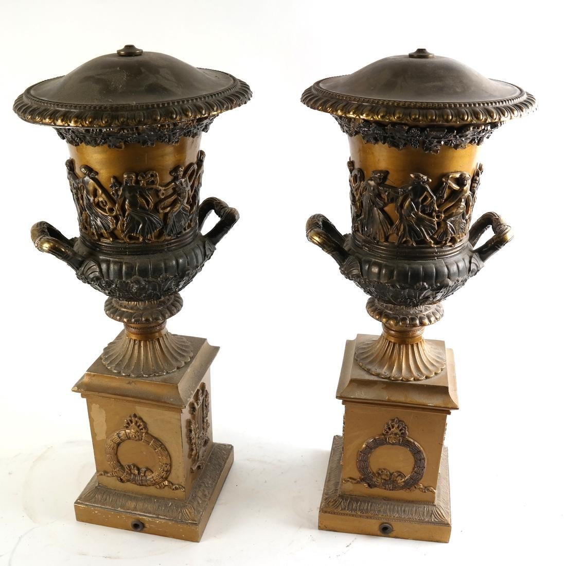Pair of Gilt Metal Covered Urns