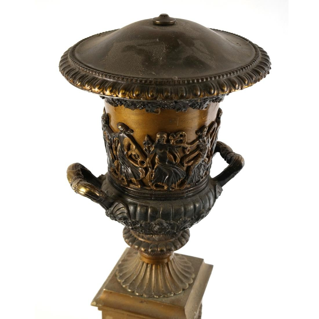Pair of Gilt Metal Covered Urns - 3