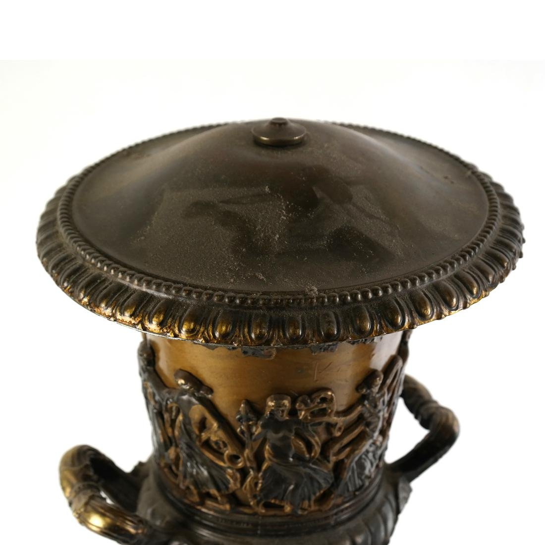 Pair of Gilt Metal Covered Urns - 4