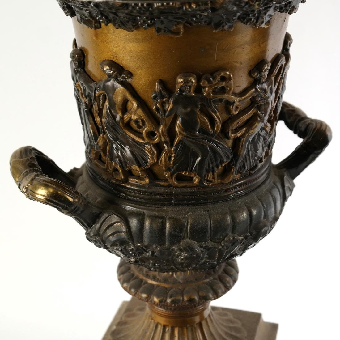 Pair of Gilt Metal Covered Urns - 5