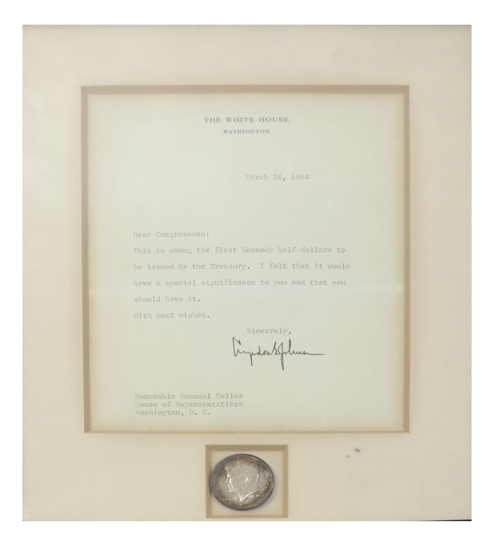 1964 Kennedy Coin/White House Letter