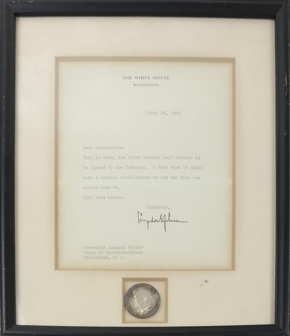 1964 Kennedy Coin/White House Letter - 2