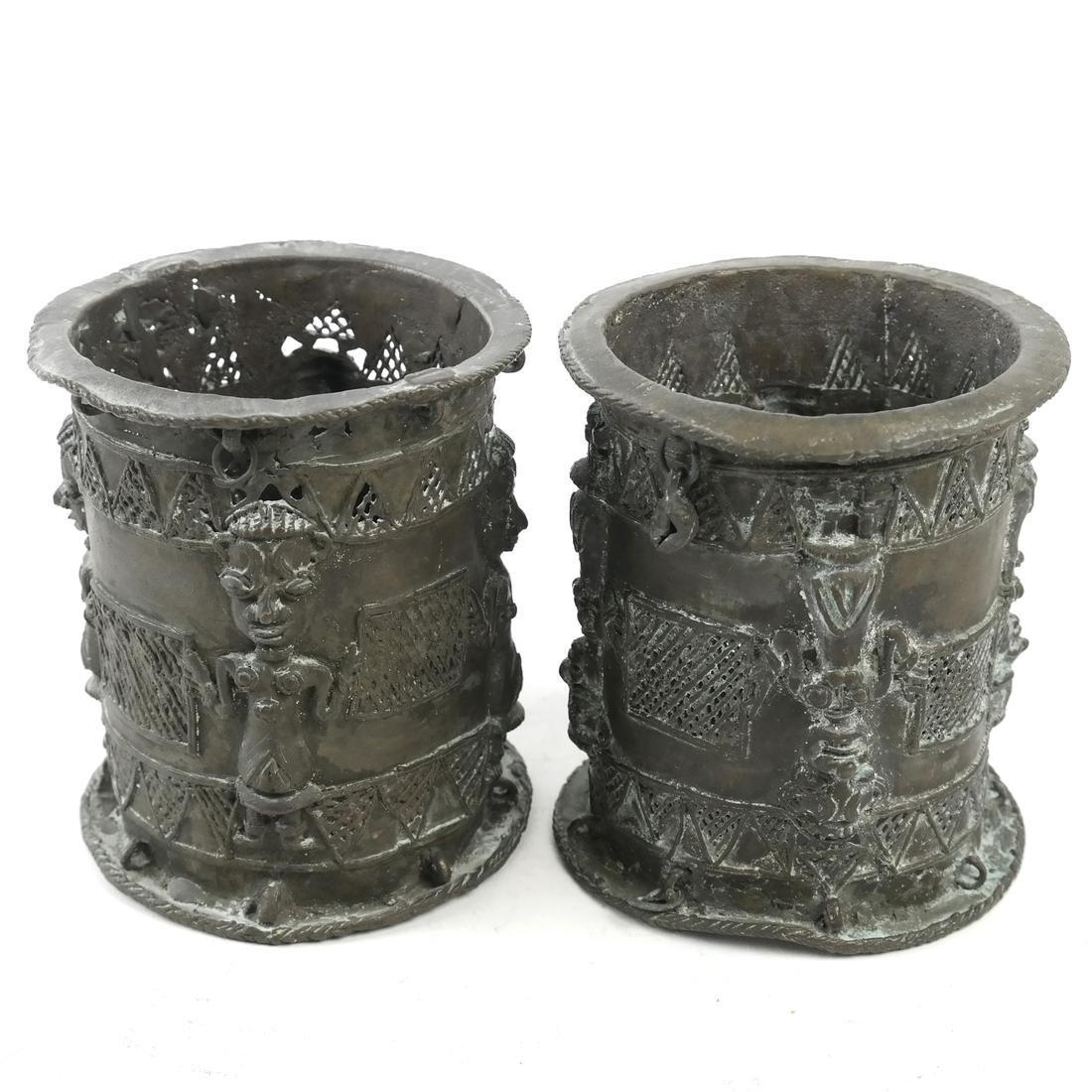 Pair of African Bronze Sleeves - 2