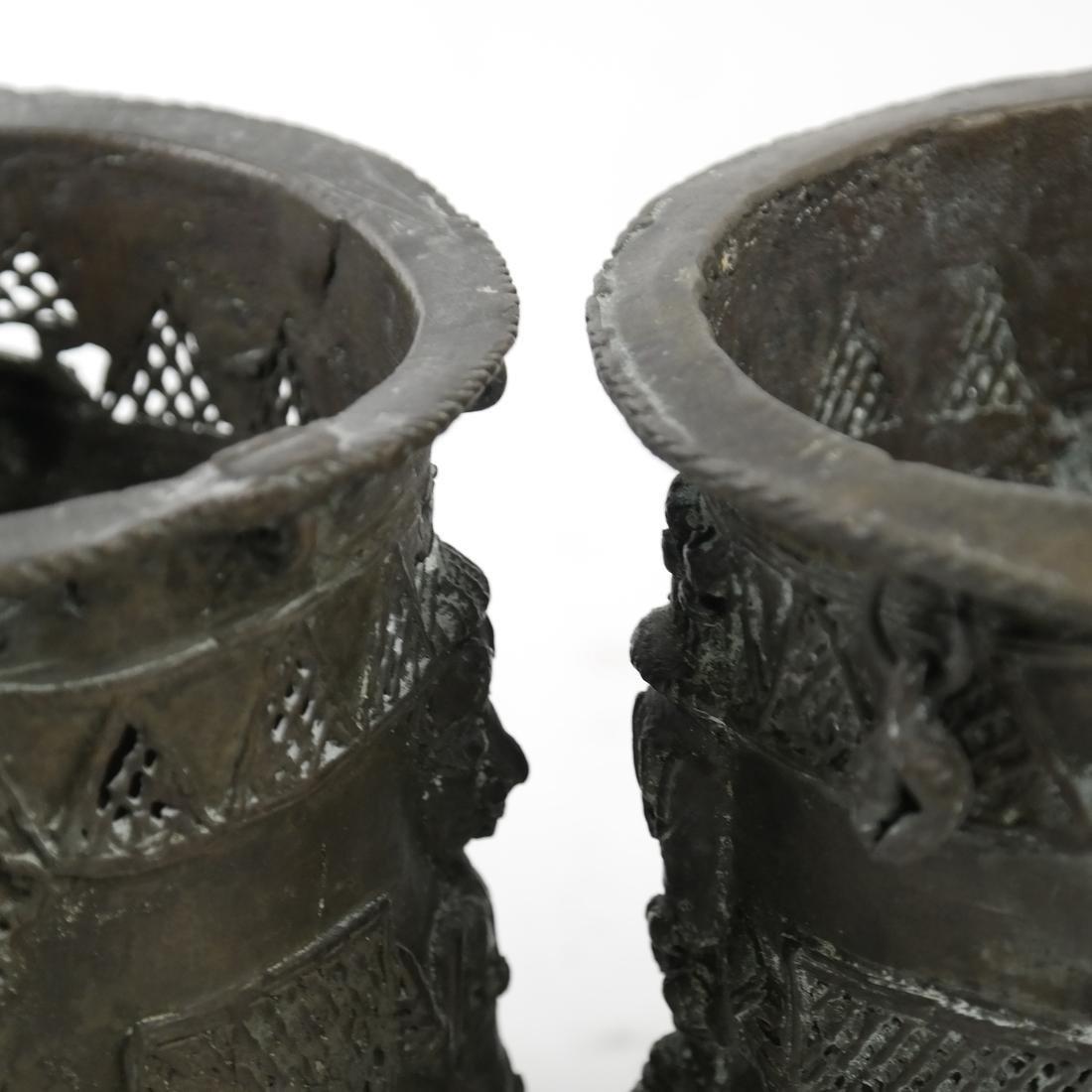Pair of African Bronze Sleeves - 4