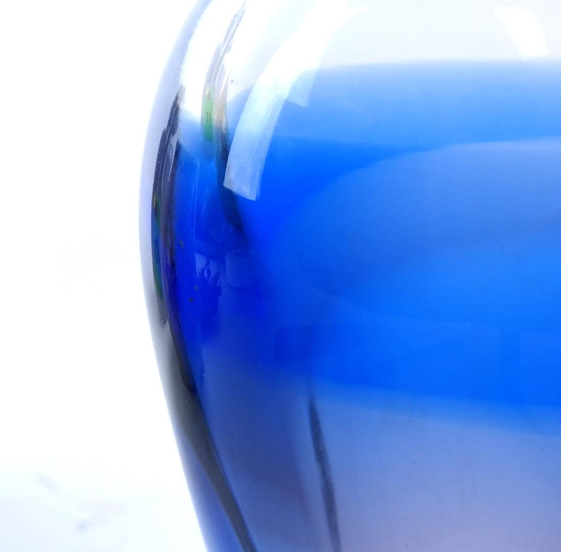 Cobalt Cut to Clear Glass Vase - 4