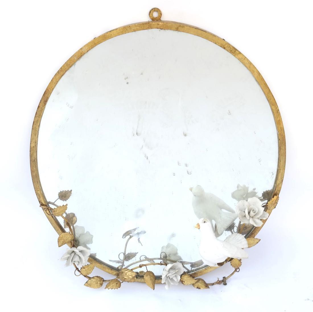 Circular Gilt Metal Mirror